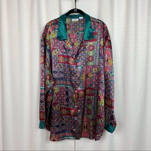 Kathryn Green&Pink Moroccan Print Button Up Blouse